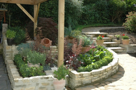 Raised beds made with Purbeck stone