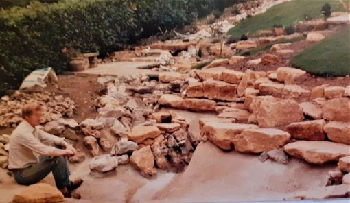 Sidford 1980: 40ft Stream system built with Charlton Mackerel stone